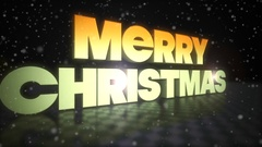 Merry Christmas 3D Text With Snow Falling Stock Footage
