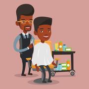 Barber making haircut to young man Stock Illustration