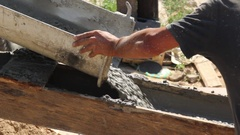 Casting of the concrete in drainage Stock Footage
