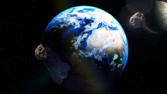 Asteroids coming close to Earth from deep space Stock Footage