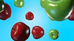 Green and red apples fall slow motion Stock Footage