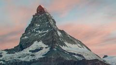 Matterhorn alps switzerland mountains snow peaks ski timelapse sunrise dawn Stock Footage