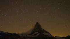 Matterhorn alps switzerland mountains snow peaks ski timelapse stars night Stock Footage