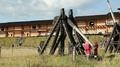 Old wooden catapults in Kyivan Rus park, Kopachiv village HD Footage