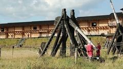 Old wooden catapults in Kyivan Rus park, Kopachiv village Stock Footage