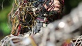 Woman face of sculpture, made of electric wires and electronic devices HD Footage