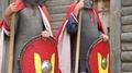 Two knights in armours in Kyivan Rus park, Kopachiv village, Ukraine HD Footage