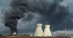 Time Lapse shot of smoke and fire in an oil refinery accident Stock Footage