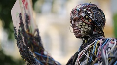 Sculpture of human, made of electric wires and electronic devices Stock Footage