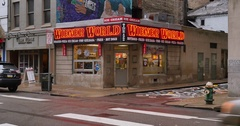 Establishing Shot of Weiner World Hot Dog Shop in Pittsburgh  	 Stock Footage