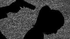 Silhouette tv noise gun nape woman Stock Footage