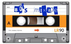 Vintage cassette with lettering title. Eighties mixtape Stock Illustration