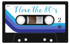 Vintage cassette with lettering title. I love the eighties Stock Illustration