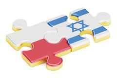 Poland and Israel puzzles from flags, relation concept. 3D rendering Stock Illustration