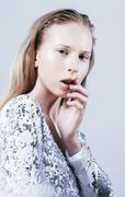 Problem depressioned teenager with bleeding nose, real fashion j Stock Photos