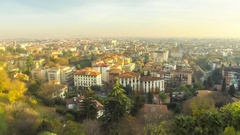 Panoramic view of Bergamo city, Lombardy, Italy Stock Footage