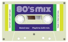 Vintage cassette with lettering title. Eighties mix Stock Illustration