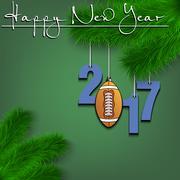 Football ball and 2017 on a Christmas tree branch Stock Illustration