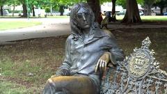 John Lennon bronze sculpture in the Parque Menocal. Havana, Cuba Stock Footage