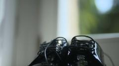Groom black elegant shoes Stock Footage