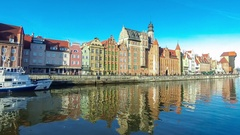 Motlawa river and colourful houses in Gdansk city, Poland Stock Footage