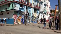 Street murals in the Callejon De Hamel. Havana, Cuba Stock Footage