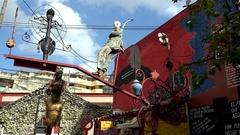 Detail exposition from the Callejon de Hamel. Havana Stock Footage