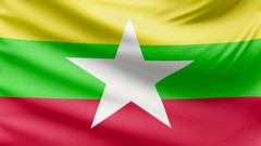 Realistic beautiful Myanmar flag 4k Stock Footage