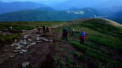 CARPATHIANS, UKRAINE - August 21, 2016: Tourists ascend to the mountain Hoverla. Stock Footage