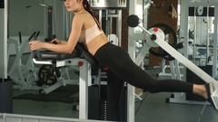 Woman doing exercise on her buttocks Stock Footage