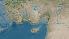 Zoom into Taurus mountain range - masks. Satellite imagery Stock Footage