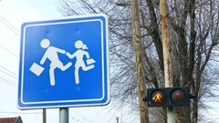 Traffic sign and traffic light - Pedestrian crossing for school children Stock Footage
