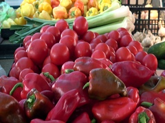 Red paprika,tomato and yellow paprika in Vegetables and fruits market  Stock Footage