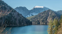 Lake Ritsa and the Caucasus mountains in Abkhazia Stock Footage