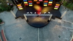 Stage with lights in an outdoor amphitheater. Aerial video. Stock Footage