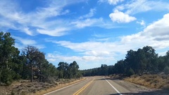 Driving on route highway 89A, away from North rim, Grand canyon, in Arizona.. Stock Footage