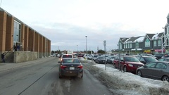 Traffic gridlock in shopping mall parking lot Stock Footage