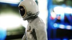 Astronaut walk in spaceship interior. Martian. Sci -fi concept.  Stock Footage