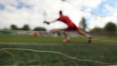 Сhildren's football. Close-up of a grid of football gate. Stock Footage