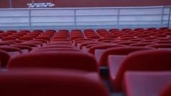 Empty seats of the stadium. Plastic seats. Stock Footage