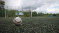 Football. Penalty. Children's football. Closeup kick a soccer ball. Stock Footage