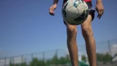 Football freestyle closeup. Stock Footage
