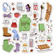 Winter icons vector patches Stock Illustration