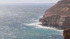 Steep sea cliffs of Kalbarri NP in Australia Stock Footage