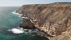 Island rock sea cliff of Kalbarri NP in Australia Stock Footage