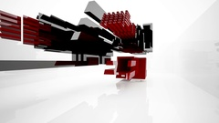 Abstract architectural interior with black and red geometric sculpture. Stock Footage