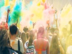 Color holi festival Stock Footage