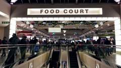 One side of people having dinner at food court area Stock Footage