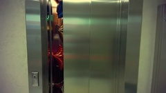 Elevator door opened, the elevator is filled with balloons Stock Footage