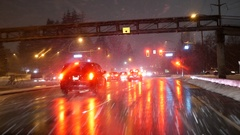Motion of traffic flow on cold blizzard snow night  with 4k resolution Stock Footage